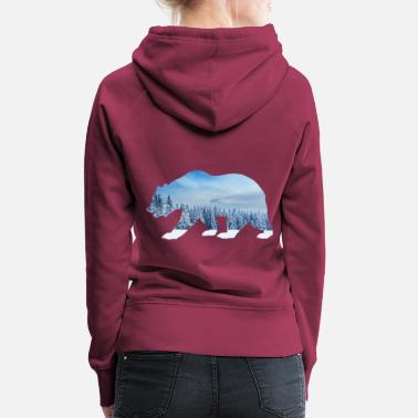 Winter bear forest tree snow mountain - Women's Premium Hoodie
