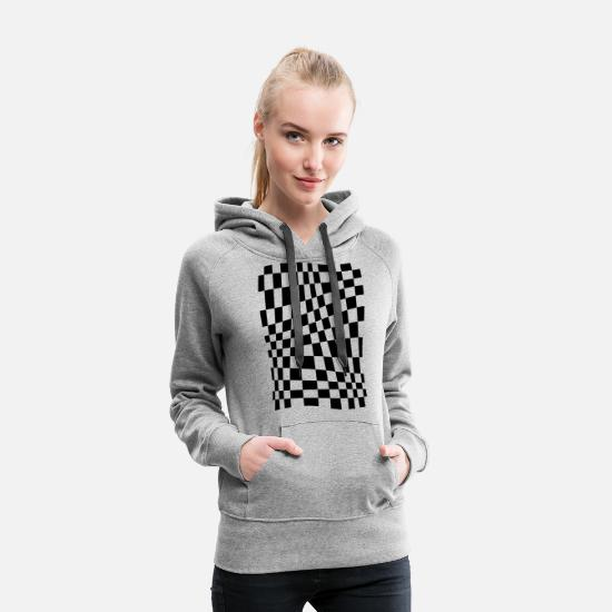 Checkerboard Hoodies & Sweatshirts - Distorted Grid - Women's Premium Hoodie heather grey