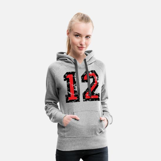 Baseball Hoodies & Sweatshirts - The Number Twelve - No. 12 (two-color) red - Women's Premium Hoodie heather grey