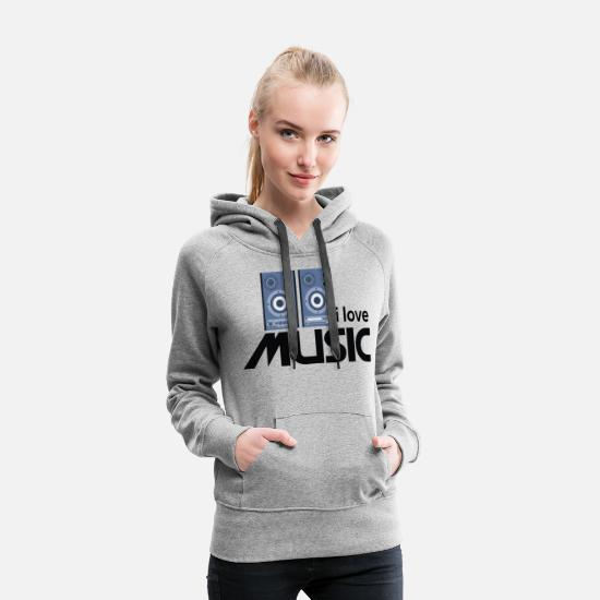 Love Hoodies & Sweatshirts - I love music 01 - Women's Premium Hoodie heather grey