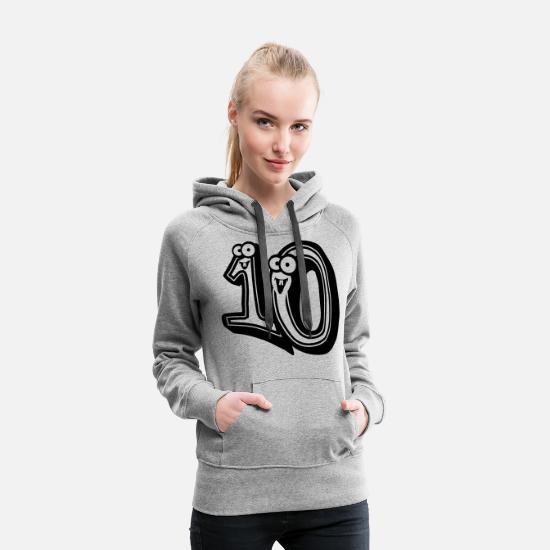 Zahl Pullover & Hoodies - 10 Zehn Comic Cartoon 3d Design - Frauen Premium Hoodie Grau meliert