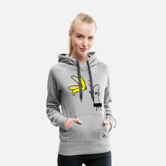 Humour Sweat-shirts - Striptease banane - Sweat à capuche premium Femme gris chiné