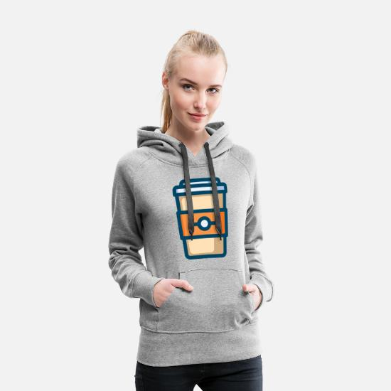 Cafe Hoodies & Sweatshirts - Coffee / Cafe / Caffeine / Caffeine / Starbucks - Women's Premium Hoodie heather grey
