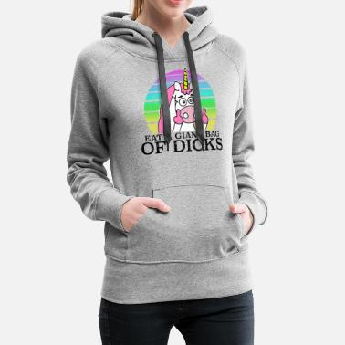 Naughty unicorn middle finger Funny saying - Women's Premium Hoodie