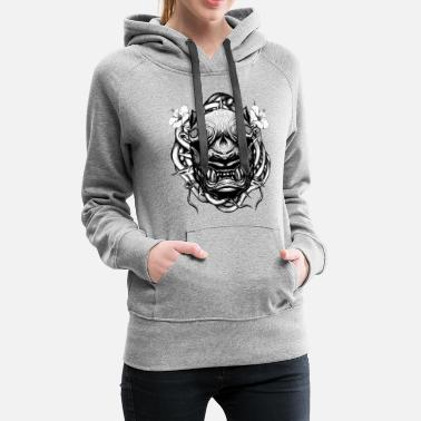 Japanese Art Tiger with Flowers - Women's Premium Hoodie