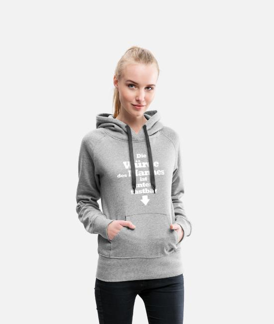 Bachelor Party Hoodies & Sweatshirts - The dignity of the man is palpable below - Women's Premium Hoodie heather grey