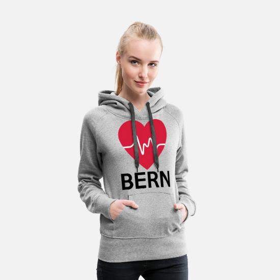 Love Hoodies & Sweatshirts - heart Bern - Women's Premium Hoodie heather grey