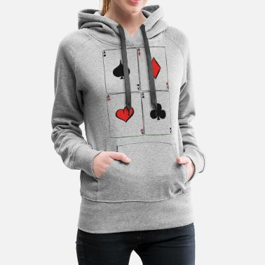 Blackjack Ace Playing Cards Card Game Poker Texas Hold'em - Women's Premium Hoodie