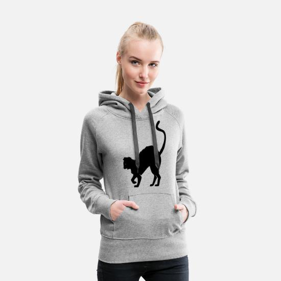 Night Hoodies & Sweatshirts - Black Cat - Women's Premium Hoodie heather grey