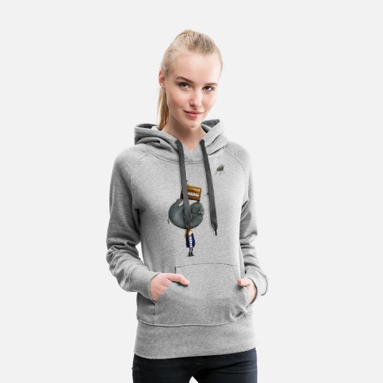 Funny Collection Sudaderas - Elephant On The Head - Sudadera con capucha premium mujer gris jaspeado
