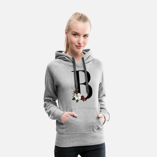Floral Hoodies & Sweatshirts - Initial B with floral print - Women's Premium Hoodie heather grey