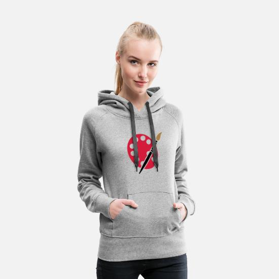 Image Hoodies & Sweatshirts - Painter artist graphic artist brush color palette - Women's Premium Hoodie heather grey