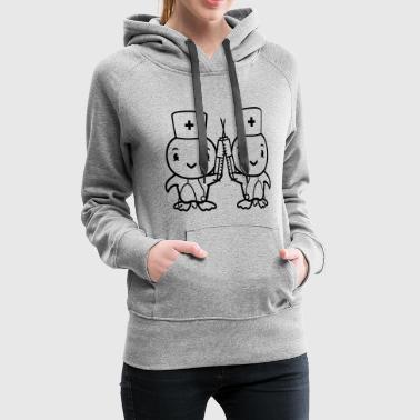 team couple 2 sisters chicken chick bird syringe s - Women's Premium Hoodie