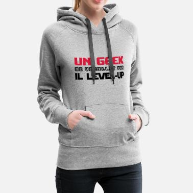 Up Un geek ne vieillit pas il level-up - Sweat-shirt à capuche Premium pour femmes