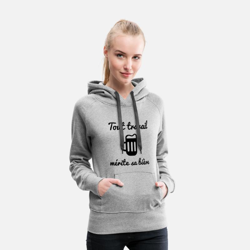 Humour Sweat-shirts - Tout travail mérite sa bière - humour / citations - Sweat à capuche premium Femme gris chiné