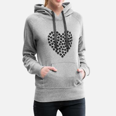 Paw Print Paws - heart! For dogs & cats lovers! - Women's Premium Hoodie
