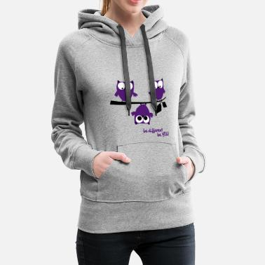 Slogan Owls, funny be different be you | animal Shirt  - Women's Premium Hoodie