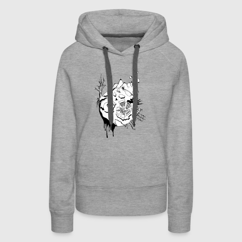 Planet Earth Doodle art - Women's Premium Hoodie