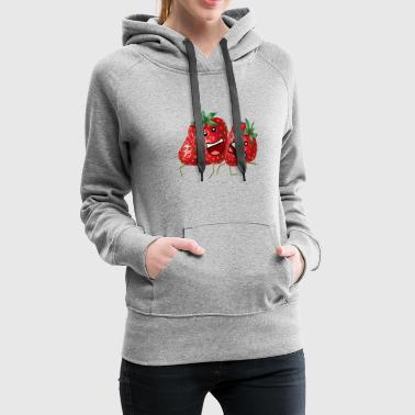 Strawberry Party - funny cartoon fruit drawing - Women's Premium Hoodie