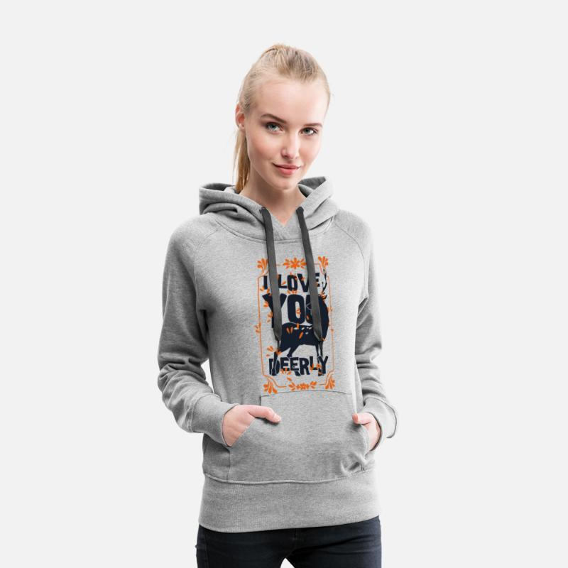 Valentine's Day Hoodies & Sweatshirts - I love you deer - love deer animal - Women's Premium Hoodie heather grey