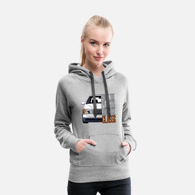 Retro Hoodies & Sweatshirts - W140 Fuck the Plastic - Ride the Classic - Women's Premium Hoodie heather grey
