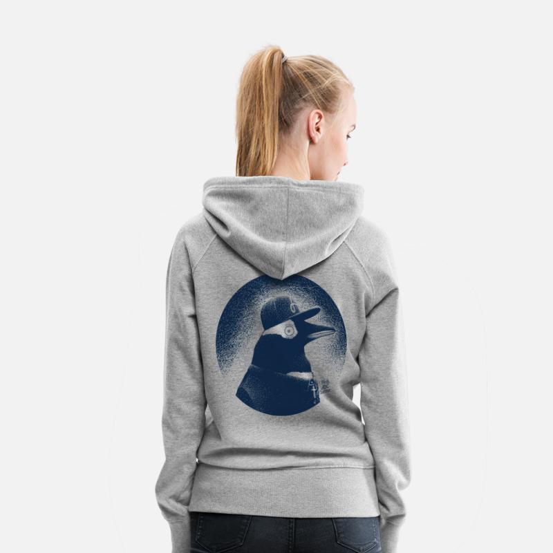 Baby Shower Hoodies & Sweatshirts - Pinguin dressed in black - Women's Premium Hoodie heather grey