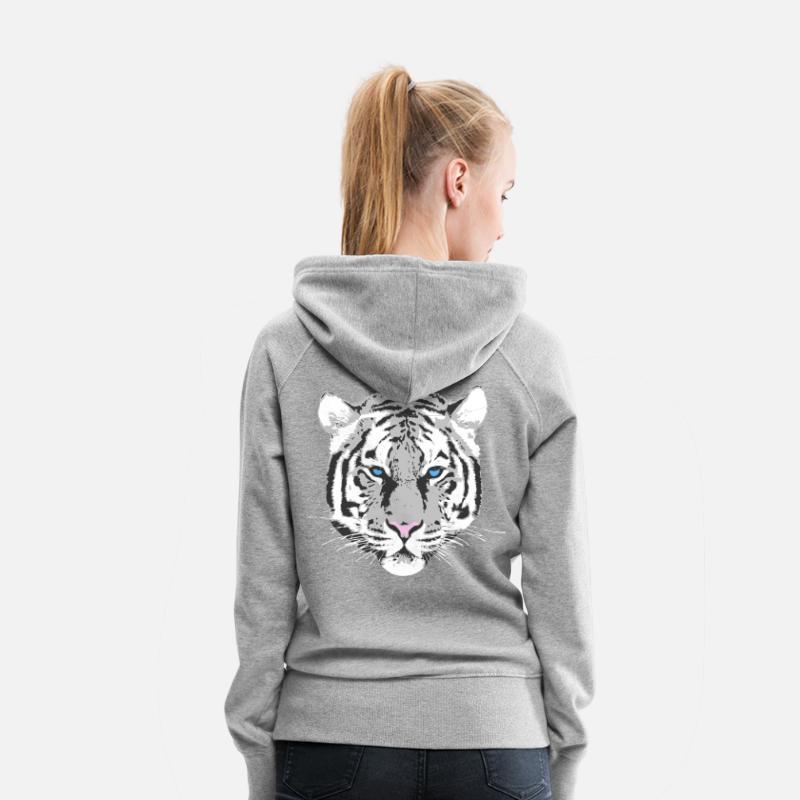 Capuche Tigre Sweat Blanc Premium À Spreadshirt Femme CrqrTtx