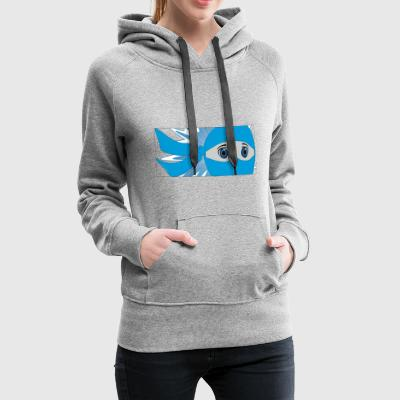 Blue Masked Ninja Strip with Starburst - Women's Premium Hoodie