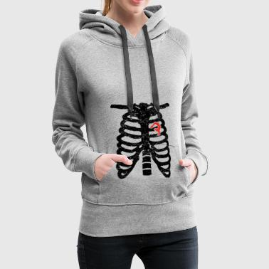 Heart skeleton heart love yoga meditation gymnastics ges - Women's Premium Hoodie