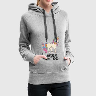 Awesome Since 2000 Unicorn Birthday Gift - Women's Premium Hoodie