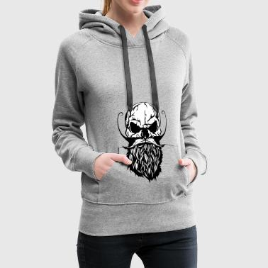 head of death skull hipster crane beard bearded mustache - Women's Premium Hoodie