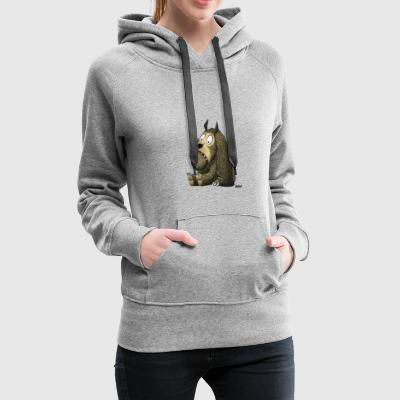 Enillo Cartoon Monster sitzend - Frauen Premium Hoodie