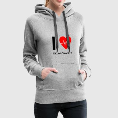 J'aime Oklahoma City - I Love Oklahoma City - Sweat-shirt à capuche Premium pour femmes