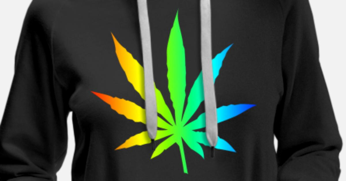 Marihuana liść Rainbow Premium bluza damska z kapturem | Spreadshirt