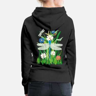Dragonfly 08 flowers dragonfly ladybug - Women's Premium Hoodie