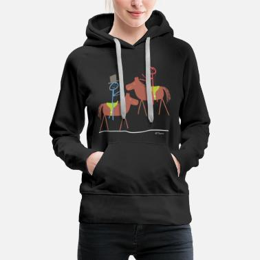 Established Marry horse, stick figure riding sport marriage - Women's Premium Hoodie