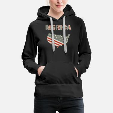 4. Juli Merica Map Amerika 4th July USA amerikaflagge - Frauen Premium Hoodie