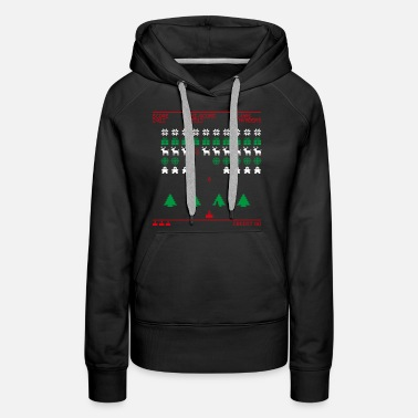 Ugly Christmas X-mas Invaders (tricolor) - Women's Premium Hoodie
