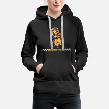 Motorcycles Dedicate to speed. Wild Tiger love moped Gifts. - Women's Premium Hoodie