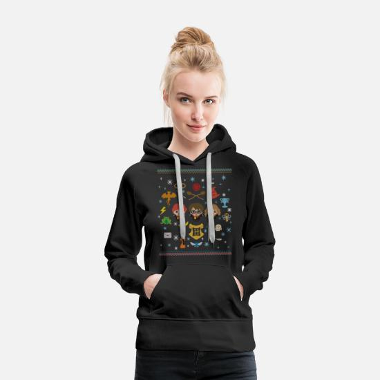 Christmas Pullover & Hoodies - Harry Potter Ugly Christmas Chibi Design - Frauen Premium Hoodie Schwarz