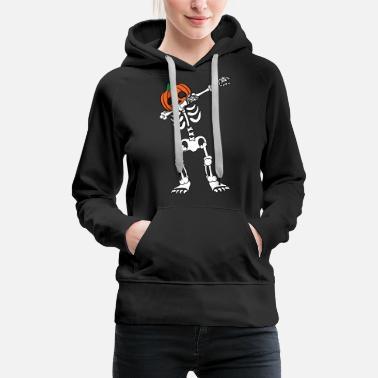 Rolig  amp  Cool Halloween kostym Tee Skelett Pumpkin Head Dab på em -  Premium hoodie 8a8c81f73e87b