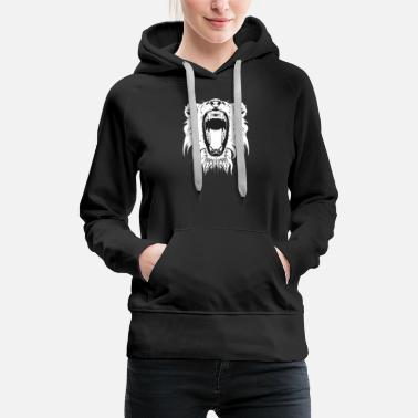 Lion Roaring Lion Head Design - Women's Premium Hoodie