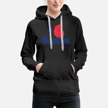 Birthday Party Realists Quote TShirt Design I heart Realism - Women's Premium Hoodie