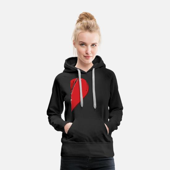 Love Hoodies & Sweatshirts - Right half of a heart zipper - Women's Premium Hoodie black