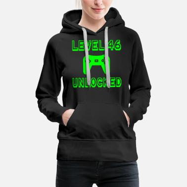 Old School Level 46 Unlocked Gamer 46th Birthday Gift Idea - Women's Premium Hoodie