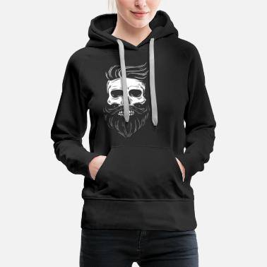 Hipster skull with hipster hair and mustache - Women's Premium Hoodie