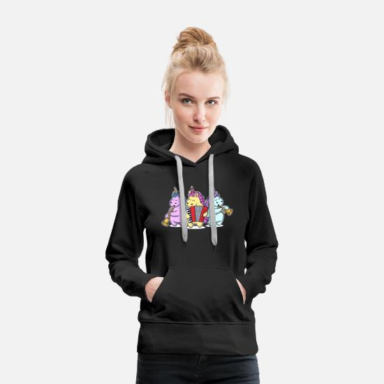 Band Sweat-shirts - Schlager Unicorn Unicorn Band Musique Schlagermusic - Sweat à capuche premium Femme noir
