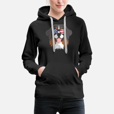 Usa Patriotic Bernese Mountain Dog Merica American - Women's Premium Hoodie