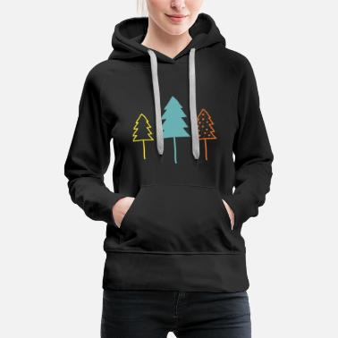 Poinsettia Firs, Christmas, Christmas tree, forest - Women's Premium Hoodie