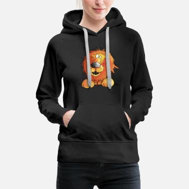 Lion drôle i tête de lion comique i illustration - Sweat à capuche premium Femme